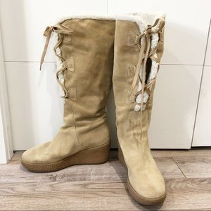 Michael Kors camel suede laced boots fur inside